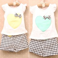 Wholesale loved baby clothing resale online - Girls Love plaid Suits Baby Fashion floral bow outfits fly sleeve Vest waist pants kid summer clothes DHL MOQ sets SVS0339