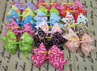 Wholesale Grosgrain Bows For Sale - SALE! Heart shape circle dot printed grosgrain ribbon hair bows children hair accessories boutique bows without CLIP for baby girls 100PCS