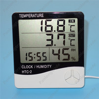 Wholesale Digital Room Thermometer Clock - NEW Digital LCD Hygrometer Thermometer Temperature Humidity Meter Alarm Clock Calendar All in One Indoor Outdoor