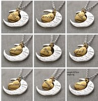 """Wholesale Wholesale Dad Gifts - 2017 Hot Antique Silver Gold """"I Love You To The Moon and Back"""" Pendant Necklace Gift for Lover Mom Dad Daughter Sun Gift"""