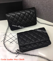 Wholesale Classic Flap Bag - 5A Quality Classic Women's Black Caviar Woc Clutches Crossbody Bag 33814 Lambskin Qulited Mini Flap Shoulder Bag 20cm Factory Outlet