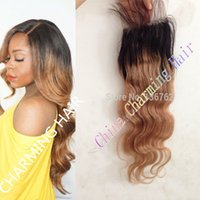 Wholesale 7A Instock Malaysian Ombre Lace Closure Top Quality Two Tone Virgin Malaysian Remy Hair b Free Part Lace Front Closure