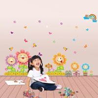 Wholesale Sunflower Stickers Free Shipping - Free Shipping Special shipping sunflower kindergarten children's room wall stickers decorative backdrop smiley removable