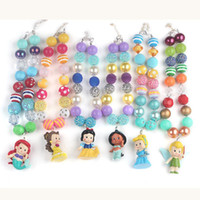 Wholesale Necklace For Kids Girls - 6pcs set 2016 Chunky Bubblegum Beads with People in Fairy Tales Pendant Necklace for Girls Kids