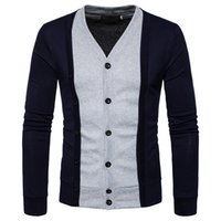 Wholesale Handsome T Shirt - New handsome men's fashion spell color long sleeve fake two cardigan warm Slim V collar T-shirt cotton
