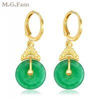 jade verde puro al por mayor-(421E) MGFam Classic Beauty Green Malaysian Jade Pendientes para mujer gota redonda de alta calidad 24k oro puro