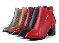 talons d'hiver stylés achat en gros de-Élégant et élégant pointu en cuir véritable chaussures femmes bottes à talons hauts bottes 2017 nouveau automne hiver chaussures femme mariage cheville bottes