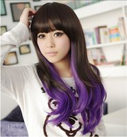 Wholesale long black curly cosplay wig - Anime cosplay party wig bangs long hair Ombre wig Loose Wave Heat Resistant Suitable for all face all color buy wig send hairnet
