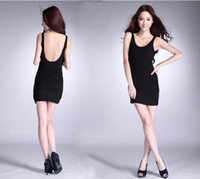 Wholesale Dresses Jumper Skirt Sexy - Summer New Lady Sexy Backless Bandage Dresses Cotton Soft Colorful Elastic Jumper Skirt Mini Slim Comfortable Bodycon Dresses
