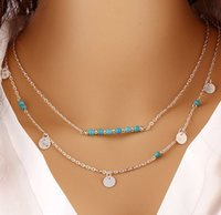 Wholesale Multilayer Body Chain - Summer Style Boho Body Chain punk Necklaces Multilayer Gold Silver Statement Chain Coin turquoise Bead double Chain Necklace For Women