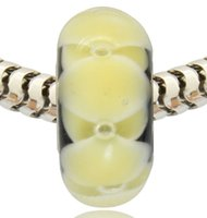 cam boncuk tüpleri toptan satış-Toptan Perakende Yeni Varış Gümüş Kaplama Tüp Lampwork Cam Murano Cam Charm Boncuk Pandora Bilezik Için