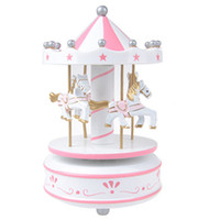 Wholesale Kids Carousel - Merry-Go-Round Carousel Wind Up Music Box Kids Valentine's Day gift Birthday Gift White