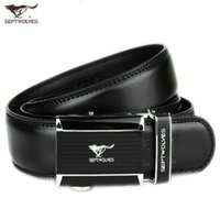 Wholesale Septwolves Free Shipping - Luxury fashion Belt Cool Belts for Men SEPTWOLVES belts Genuine Leather belts Automatic Buckle belt Cowskin casual Wide Belts Free shipping