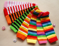 Wholesale Baby Socks Rainbow - Baby Leg Warmers Autumn Winter Knee High Christmas Sock Colorful Striped Leg Warmers Rainbow Infant Girl Legging Socks Knee Pads m0948