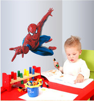 Wholesale Spiderman Stickers For Wall - 110x90cm (44x35in)large Spiderman Decals Wall Stickers 3D Removable PVC Wall Papers Kids Room Decoratives free shipping