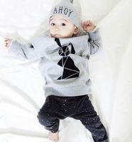 Wholesale Cute Zebra Clothes - Baby Clothes Kids Clothing Gray Color Clothes Pure Cotton Fashion 4 Pcs lot Long Hot Sale Free Shipping