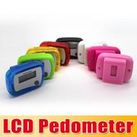 Wholesale Mini Lcd Pedometer - New Pocket LCD Pedometer Mini Single Function Pedometer Step Counter LCD Run Step Pedometer Digital Walking Counter 100pcs