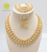 Wholesale Indian Dress For Free Shipping - Free Shipping African Costume Jewelry Set Gold Plated Fashion Necklace Earring Bracelet For Women Crystal Dress Party Accessories