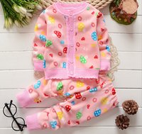 Wholesale Kids Animal Sweaters - Winter kids girls boys cardigan sweater +pants set 2 pieces,kids long sleeve clothes suit winter warm clothing 4s l