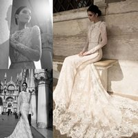 Wholesale Inbal Dror Dresses - Inbal Dror 2015 Spring Lace Sheer Beach Wedding Dresses Summer High Collar Modest Long Sleeves Vintage High Neck Court Train Bridal Gowns