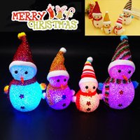 Wholesale led lighted reindeer - LED Light Santa Claus Reindeer Snowman Bear Colorful Christmas Santa Claus Party Ornaments Xmas Tree Hanging Decoration 001