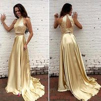 Wholesale ship nude photo resale online - High Neck Evening Dresses With Court Train Gold Beaded Crystals Hollow Two Piece Elastic Satin Formal Prom Party Gown
