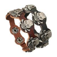 Wholesale Skull Infinity Bracelet - New Fashion Charm Bracelets Five Skull Charm For Men Infinity Button 2 Color Leather Bracelets Jewelry