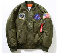 Wholesale Blue Baseball Jacket Coat - Fall-NEW Flight Pilot Jacket Bomber Ma1 Jackets For Men Winter Jackets Nasa Air Force Jackets Embroidery Baseball Military Coats