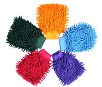 ingrosso guanti da microfibra chenille per la pulizia-Vendita calda Car Hand Hand Soft Cleaning Asciugamano Microfibra Ciniglia Guanti lavaggio Coral Fleece Anthozoan Car Sponge Wash Cloth Car Care Cleaning