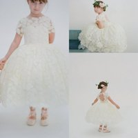 Wholesale Wedding Gown Fancy Back - Designer Tea Length Wedding Flower Girls Dresses Lace High Neck Short Sleeves Keyhole Back Fancy Appliques Little Girls Pageant Dresses