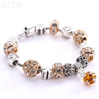 Wholesale Silver Murano Rings - New Arrival Silver Plated Crystal Field of Daisies Murano Glass&Crystal European Charm Beads DIY Style Bracelets AA05