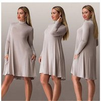 Wholesale Knitted Dress Pregnant - 2016 New Fashion High-Necked Knitting Maternity Dress Autumn Clothes for Pregnant Women Plus Size Cotton Winter Clothing for Pregnancy