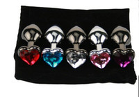 Wholesale wholesale heart shaped plugs - Heart Shape Metal Anal plug Butt Booty Beads Stainless Steel Crystal Jewelry Sex Products 80*30*33mm by DHL