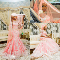 Wholesale moroccan gold - 2016 Vintage African Blush Pink Wedding Dresses Mermaid Lace Appliqued Crew Neck Sequins Arabic Muslim Moroccan Bridal Gowns Long Sleeves