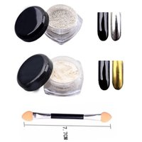 Al por mayor-Gold Sliver Metals Color Nail Glitter Powder Shinning Mirror Eye Shadow Maquillaje Polvo de polvo de uñas DIY Chrome Pigmento Glitters