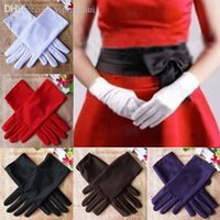Wholesale Wedding Stretch Gloves - Wholesale-7 Colors Evening Party Wedding Formal Prom Stretch Satin Gloves for Women Ladies