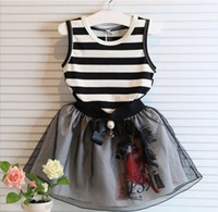 Wholesale Lining Tshirts - Sleeveless Striped Butterfly Gauze Bow Tutu Lace Yarn Children Girls Tank Tops Tshirts Skirts Sets Kids Skirt Outfit 50sets EMS DHL I3399