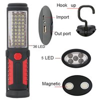 Wholesale Led Rechargeable Emergency Torch Light - Outdoor Fishing Light Magnetic Work Hand Lamp Emergency Torch Light 36+5LED Working Inspection Lamp with Hook Magnet USB Cable