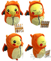 Wholesale Ems Sleeping Bags - Free Shipping EMS New Cute Pikachu Charizard Nebukuro Eevee Sleeping bag Plush Soft Doll Fashion Toy 7""