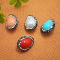 Wholesale Coral Connector Bead - Druzy ~ 8pcs Rhinestone Crystal with Mixed Color Shell Connector Bead in Pendant Jewelry Finding