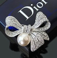 Wholesale 2 Inch Silver Plated Stylish Design Large Bow Brooch with Clear Rhinestones Crystal and Ivory Pearl