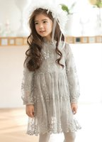 Wholesale Korean Clothing Crochet - 2015 Kids Girls Hallow Out Lace dresses Baby girl princess crochet ruffle dress children's korean clothes