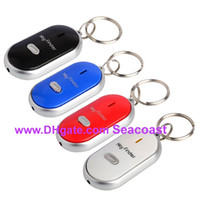 Wholesale Easy Key Finder Locator - 1000pcs lot Easy Sound Control Locator Lost Key Finder with Flashing LED Light Key Chain Keychain Keys Finding Whistle 4 Colors