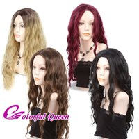 Wholesale Long Brown Wig Wavy Cosplay - Curly Wavy Long Hair Wigs Synthetic Hair Loose Deep Wave Blonde Ombre Wigs Halloween Custome Cosplay Burgundy Brown Black Wigs for Women