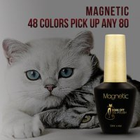 Wholesale Nails Design Stick - Brand Azure soak off CAT EYE Magnetic NAIL Tips 80pcs UV GEL Lacquer Magnet Design magnet stick builder gel 30 Colors Available