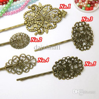 Wholesale Vintage Bronze Bobby Pin - Vintage Bobby Pin Hair Jewerly 100pcs Wholesale Antique Bronze Hairpins&Hair Clips with Flower-shaped Flat Pad for DIY Making