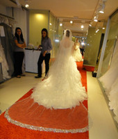Wholesale Cathedral Tier Veils - 2015 Bling Luxury Cathedral 300 cm Beaded Crystals Edge Bridal Veils One Tier Wedding Veil With Free Comb