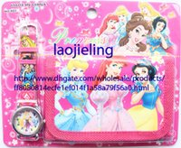 Wholesale Snow White Wallets - New Arrival China Made Children's Digital Watches And Wallets Set Snow White Princess Cartoon Wristwatch Kids Birthday Christmas Gift 10 pcs