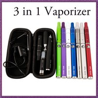 Wholesale Electronic Cigarette Dry Twist - 3 in 1 Dry herb Wax vaporizer atomizer electronic cigarette starter kit with EVOD TWIST VV battery e cigarette with zipper case high quality