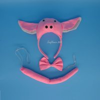 Wholesale Ear Tail Costume - Cute Animal Halloween Pink Pig Ear Headband Bow Tail Unisex Party Costume Hair Accessories Supplies Gift